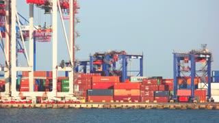 02. 08. 2017, Odessa, Ukraine. Freight transportation, logistics import export concept. Containers on the seaport in Odessa, Ukraine.