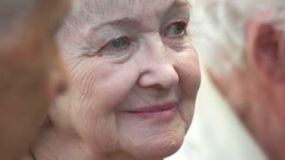 09. 05. 2018, Ukraine, Kiev. Close up portrait of senior wrinkled caucasian woman. Old lady face outdoor.