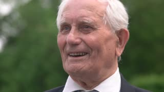 09. 05. 2018, Ukraine, Kiev. Portrait of old senior smiling positive man. Close up face. Happy veteran.