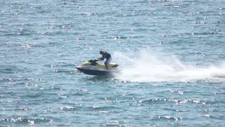 16. 08. 2016 - Odessa, Ukraine. Jet ski, flying banana boat. Having fun in summer.