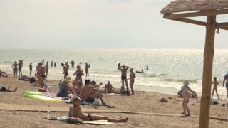 16. 08. 2016 - Odessa, Ukraine. People on sea beach. Heat of the summer.
