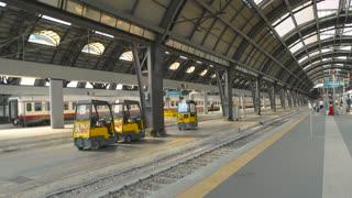 18. 06. 2016 - Milan, Italy. Modern train at the station. Railway platform, day.