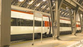 18. 06. 2016 - Milan, Italy. Passenger train at the station. Rail transport, platform.