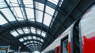 18. 06. 2016 - Milan, Italy. Passenger train, platform. Rail station, people.