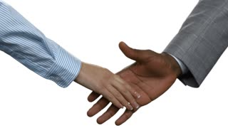 Afro businessman shaking woman's hand. Business handshake on white background. Unity means strength. Choose your allies carefully.
