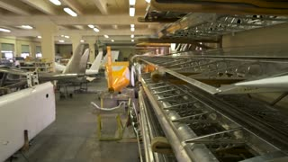 Aircraft workshop interior. Parts of planes. Aviation business ideas.