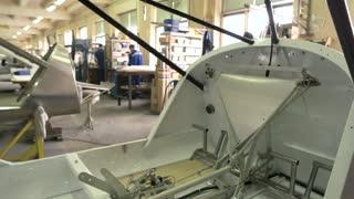 Airplane part in workshop. Plane cockpit during construction.