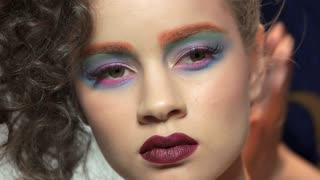 Beautiful artistic makeup. Face of attractive model.