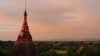 beautiful panorama with pagodas and rainbow