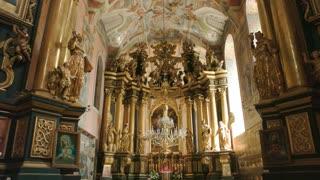 Bernardine church in Lviv, frescoes. Beautiful religious building interior.