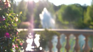 Blurred flowers and fountain. Abstract summer nature.