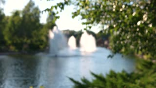 Blurred pond and fountains. Blurry tree leaves.
