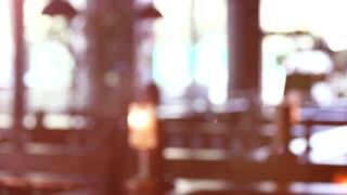 Blurred restaurant background for keying. Sunshine in a restaurant.