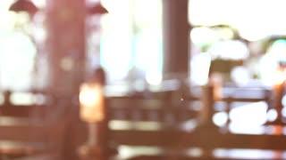 Blurred restaurant interior. Lighted interior.