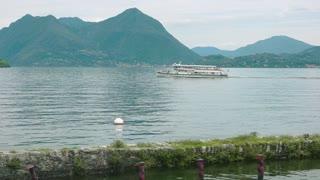 Boat travel, lake Maggiore. Scenic view, Italy in summer.
