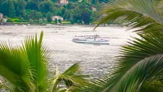 Boat trip lake Maggiore. Summer day Italy.