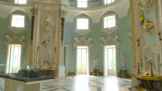 Borromeo palace interior Isola Bella. Ceiling decoration, baroque style.