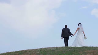 Bride and groom holding hands. Just Married walk on mountains. Lovers relaxing.