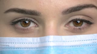 Brown eyes emotions, close up. Facial expressions. Wearing medical protective mask.