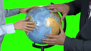 Business people touching globe. Hands on green background. Scientist proves the theory. World is in great danger.