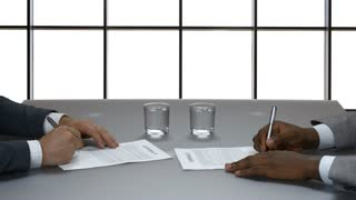 Businessman signs a contract on the background of a large window. Large corporation. Signing of the document in the business center.