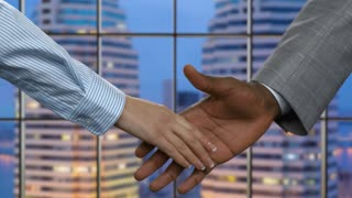 Businesswoman shakes black man's hand. Evening handshake in business center. Finding partners in the city. Company's president welcomes new ally.