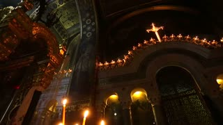 Candles in the interior of the historic of the Orthodox Cathedral