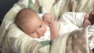 Caucasian baby yawning. Small sleepy child.