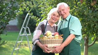 Cheerful couple holding apple basket. Old man and woman smiling. Become a gardener.