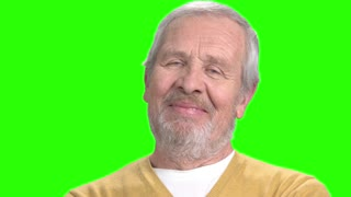 Cheerful man on chroma key background. Happy elderly man smiling on alpha channel background.
