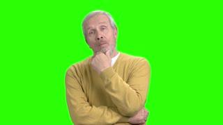 Cheerful mature man got an idea. Caucasian elderly person having an idea, chroma key background.