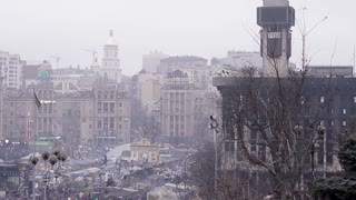 City of Kiev on the barricades in 2014. Kiev in the revolutionary events. People remember those who died for Ukraine.