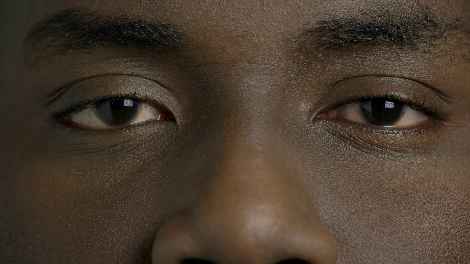 Close Up Dark Skinned Man Closed Eyes Afro American Male