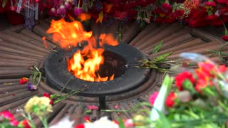 Close up eternal flame and many flowers. Memorial victory day. Close up.