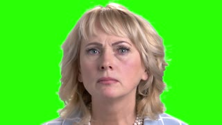 Close up face of mature scared woman. Portrait of anxious and shocked woman on chroma key background.
