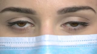 Close up female doctor's eyes blinking. Macro view, woman's face in medical protective mask.