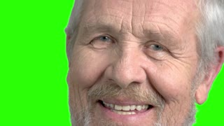 Close up grey haired old man, green screen. Close up cheerful bearded senior man, chroma key background. Human facial expressions.