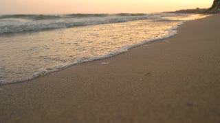 Close up of seashore. Beach at sunset. Spend holidays in exotic place.