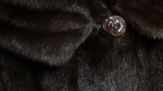 collar with a button mink coat