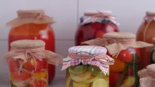 collection of canned assorted vegetables and fruits