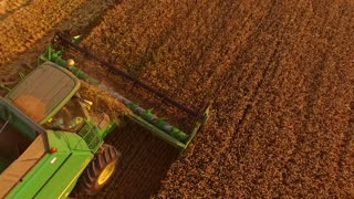 Combine and field. Agriculture and technology.