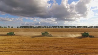 Combines harvesters in the field. Agriculture and technology.