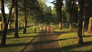 Company of cheerful friends cycling in park. Group of beautiful young people riding bicycles in summer park, aerial view. Summer rest with best friends outdoors.