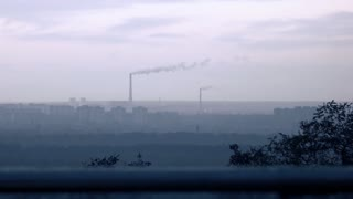 Concept of bad ecology, air pollution. Dirty industrial city. Cause of global warming.