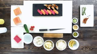 Cooking table top view, sushi. Japanese food and ingredients.