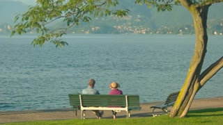 Couple on bench near lake. Tree, water and sunlight. Love and peace of mind.