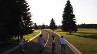 Cyclists on a country road, back view. Group of young people in helmets cycling on summer nature background, drone view. Young company walking by bikes, sunny day.