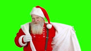 Dancing Santa on green background. Santa Claus, chromakey.