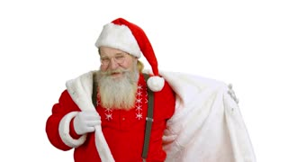 Dancing Santa on white background. Santa Claus isolated.
