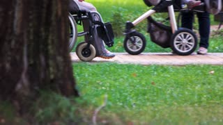 Disabled person being pushed in a wheelchair by a family member. Walk in the park.